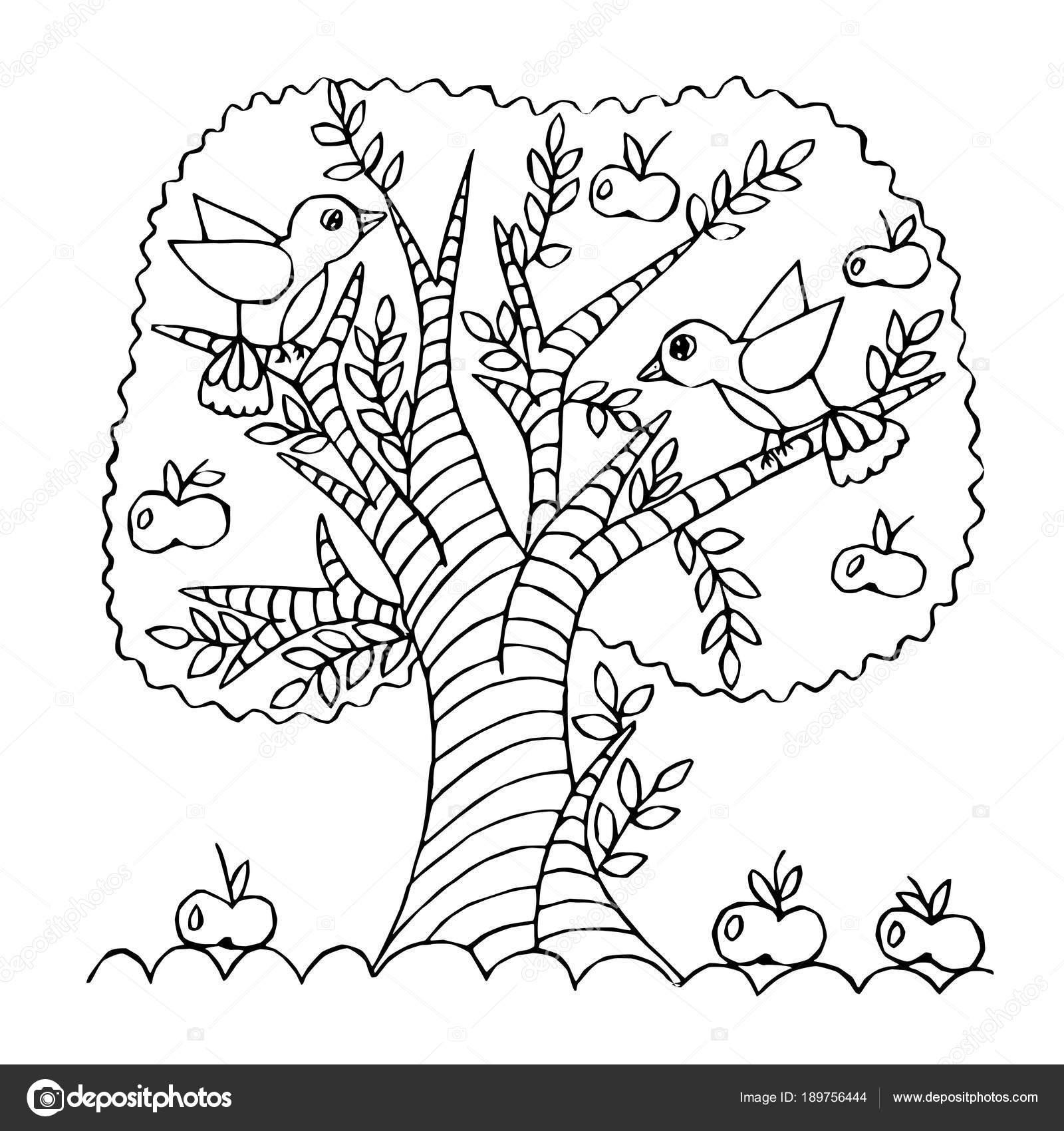 Manzano de dibujos animados, aislado sobre fondo blanco — Vector de ...