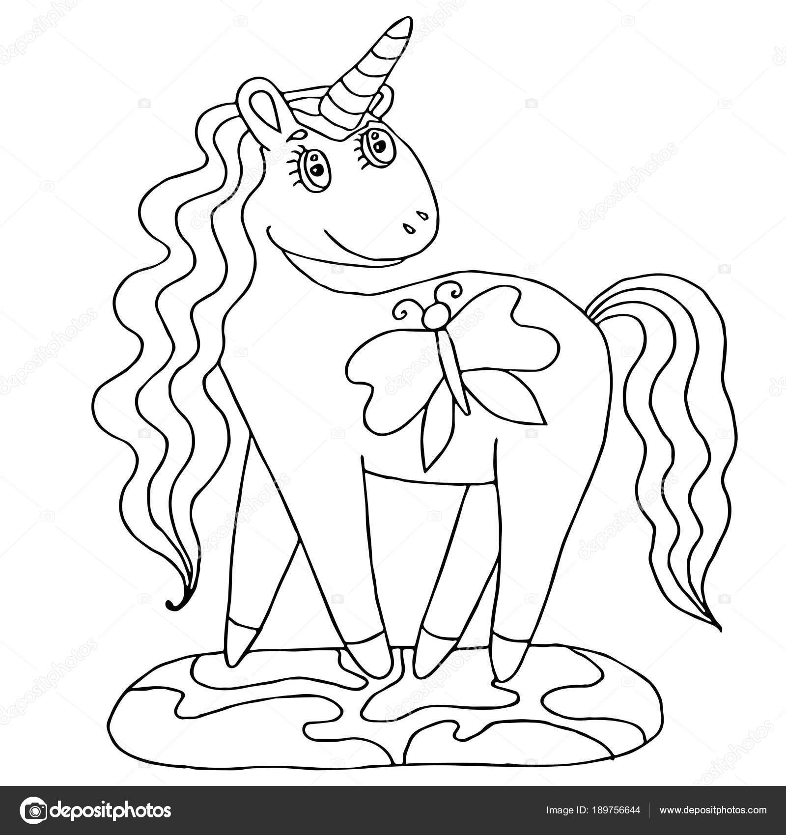 Unicornio para colorear libro — Archivo Imágenes Vectoriales ...