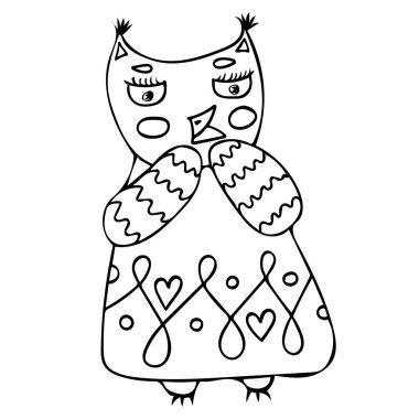 Funny cute cartoon character owl