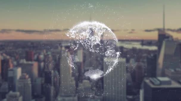 digitale Animation des globalen Welt-Hologramms. holographisches Rendering von Erde vor dem Hintergrund von Wolkenkratzern. Abbildung von Geschäftsprozessen und Kommunikation, Technologie, Vernetzung