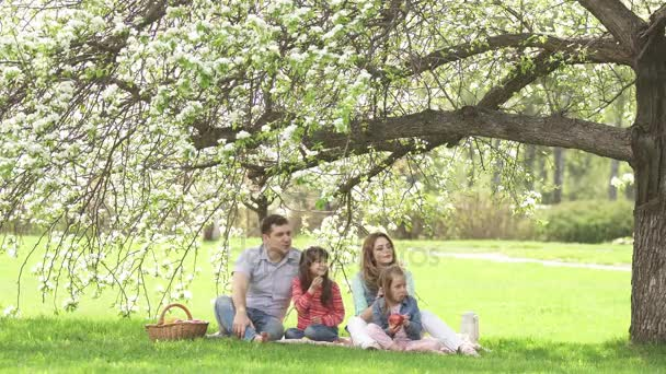 Happy family spends time on a picnic near the blossoming apple-tree. Dad, mom and two daughters spend their time outdoor. Children give their parents flowers in the meadow