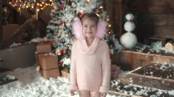 Christmas or new year. portrait of a little girl in Christmas decorations