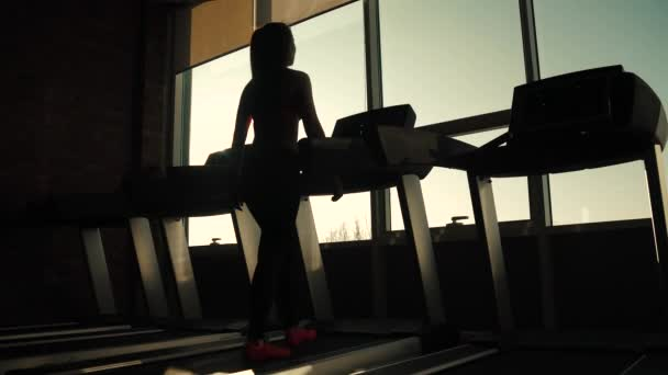 silhouette of a girl on a treadmill. young woman walks on a treadmill at the gym. cardio exercises in the gym