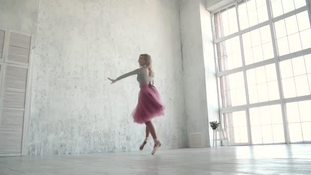Una Giovane Ballerina In Un Tutu Classico E Pointe Scarpe Danze