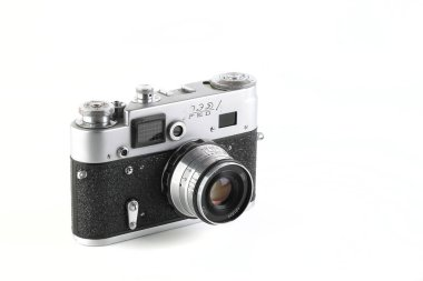 Very rare version of old Soviet rangefinder film camera FED-4, released1964 on white background.