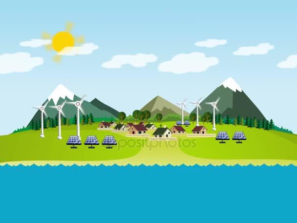 Ökológia zöld táj animáció alternatív energia generátorok design mentse föld napja.