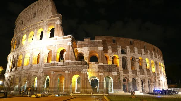 Time Lapse Shot of famous Colosseum in Rome by night