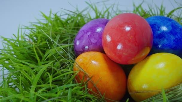 Barvy Velikonoc - hnízdo s velikonoční vajíčka