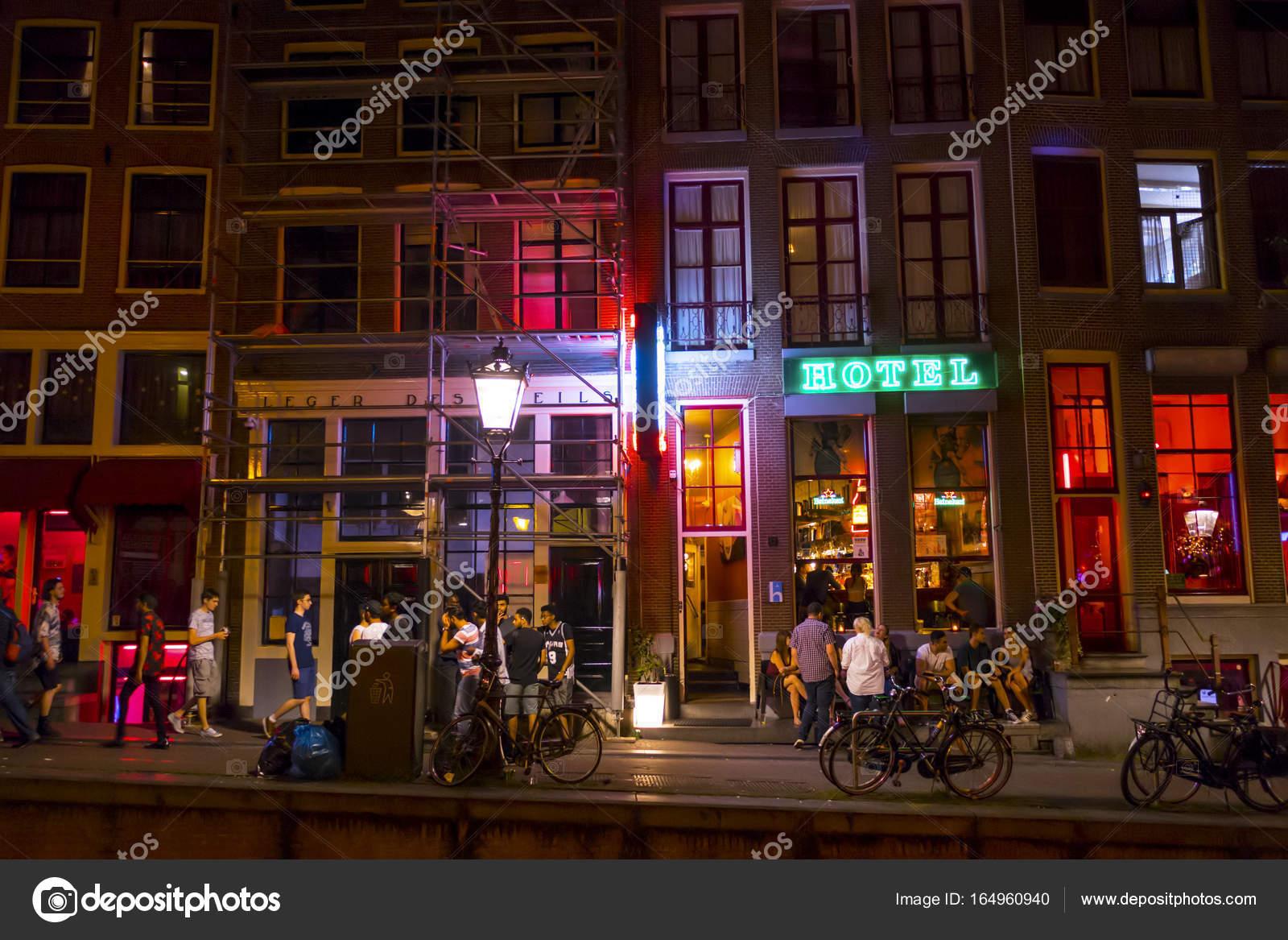 Bunte Amsterdam Red Light District Bei Nacht Amsterdam