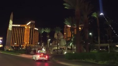 Driving on the Las Vegas strip at night - the amazing hotels and casinos - LAS VEGAS-NEVADA, OCTOBER 11, 2017