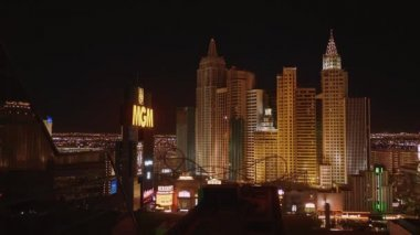 Amazing view over Las Vegas hotels at the strip by night - LAS VEGAS-NEVADA, OCTOBER 11, 2017
