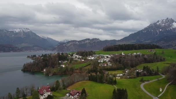 Typical landscape in Switzerland - aerial footage