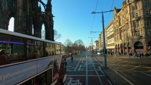 Driving through Princes street in Edinburgh - EDINBURGH , SCOTLAND - JANUARY 11, 2020