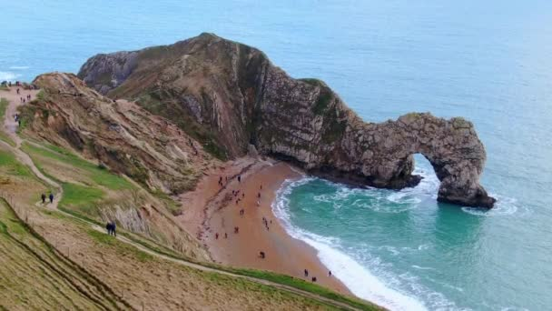 Amazing Durdle Door at the Jurassic Coast of England - view from above -aerial footage