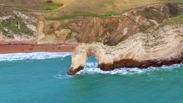 Durdle Door at Jurassic coast in England - letecké záběry