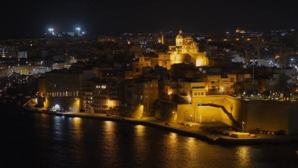 City of Valletta at night - the capital city of Malta - ISLAND OF MALTA, MALTA - MARCH 5, 2020