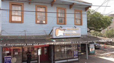 New Orleans Music Exchange store at Magazine Street - NEW ORLEANS, USA - APRIL 17, 2016 - travel photography