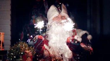 V šeru noci Santa Claus vesele vlny světla Bengálsko
