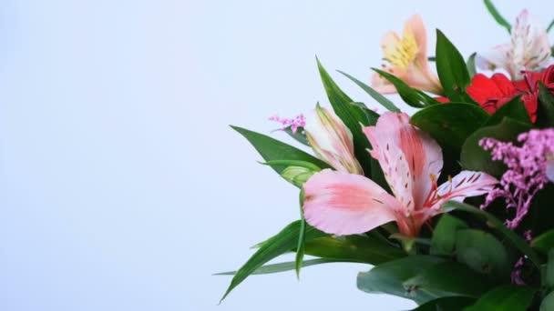 detail, květiny, kytice, rotace na bílém pozadí, květinové kompozice je tvořena Russus, kosatců, gerbera, zlatobýl. Božská krása
