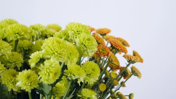 close-up, Flowers, bouquet, rotation on white background, floral composition consists of green and orange Santini