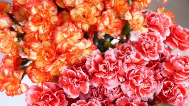 Közelkép, felülnézet, csokor virág, forgatás, virág kompozíció áll, világos sárga, narancssárga és rózsaszín török szegfű