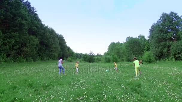 Děti společně se svými matkami se hraje s míčem na heřmánkový louka nedaleko lesa. Mají zábavu. V létě venku, v lese. Dovolená s dětmi