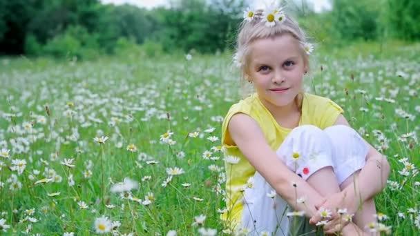 portrét. Blondýnka, dítě, sedí v trávě mezi sedmikrásky, v louce. Vlasy zdobí sedmikrásky. Ona se usmívá,