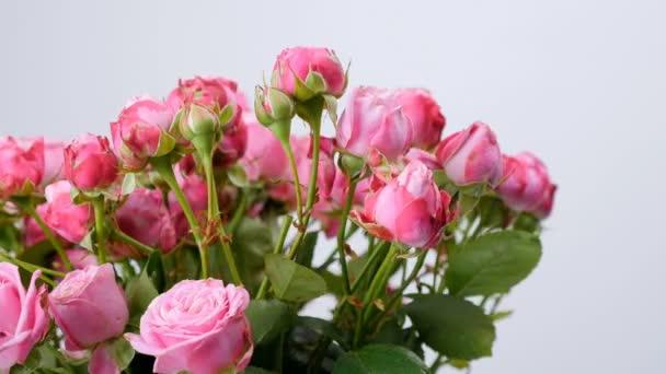 detail, květiny, kytice, rotace na bílém pozadí, květinová kompozice se skládá z růží