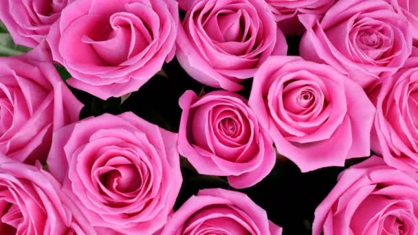 close-up, view from above, Flowers, bouquet, rotation on white background, floral composition consists of pink roses. Divine beauty.Flower shop
