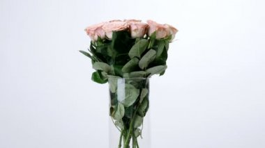 Virág, csokor, forgatás a fehér háttér, virág kompozíció áll cappuccino rózsák. Isteni szépség