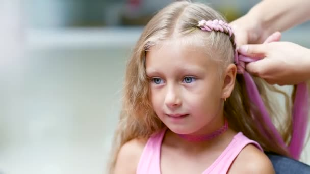 Beautiful Blond Girl Of Seven Years Old Braided Two Pigtails Do A
