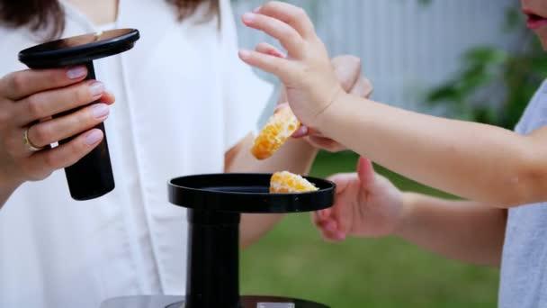 léto v zahradě. matka a čtyři rok starý syn vyrobit čerstvou šťávu z mandarinek, mandarinkové řezy do odšťavňovač.