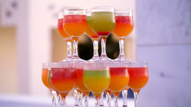 cocktail party, a design from colorful drinks, cocktails in glass glasses, original alcoholic and non-alcoholic cocktails