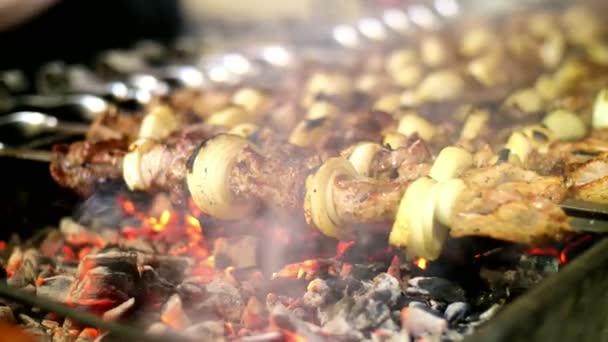 Šíš kebab na grilu. BBQ party. Detail