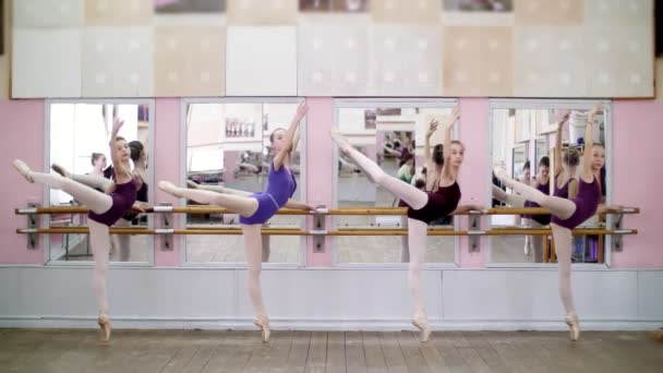 in dancing hall, Young ballerinas in purple leotards perform attitude efface on pointe shoes, standing near barre at mirror in ballet class.