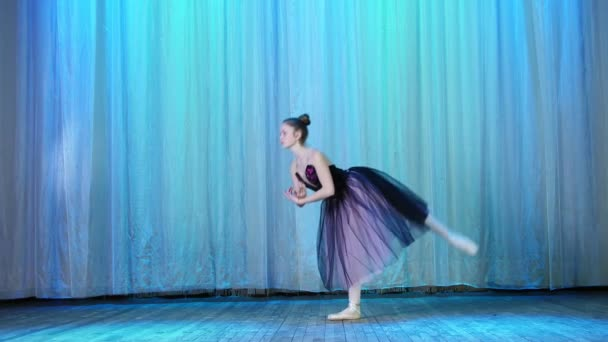 ballet rehearsal, on the stage of the old theater hall. Young ballerina in lilac black dress and pointe shoes, dances elegantly certain ballet motion, raises her leg up behind