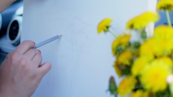 egy ceruza vázlatot egy csokor sárga pitypang, a természet, a kreatív folyamatot, rajz rajz részlete,