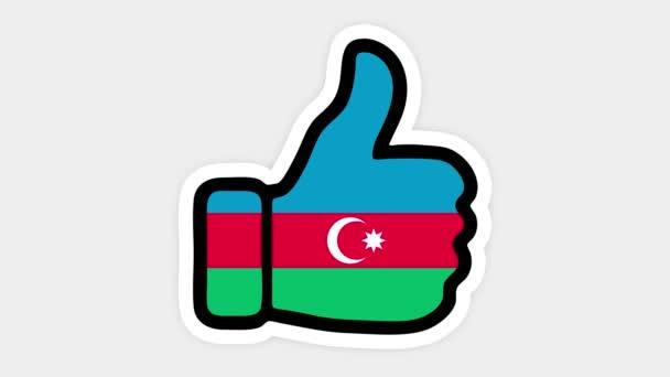 Kreslení, animace je ve formě, srdce, chat, palec nahoru s obrázkem Ázerbájdžánské vlajky. Bílé pozadí