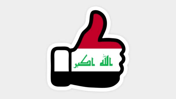 Drawing, animation is in form of like, heart, chat, thumb up with the image of Iraq flag . White background