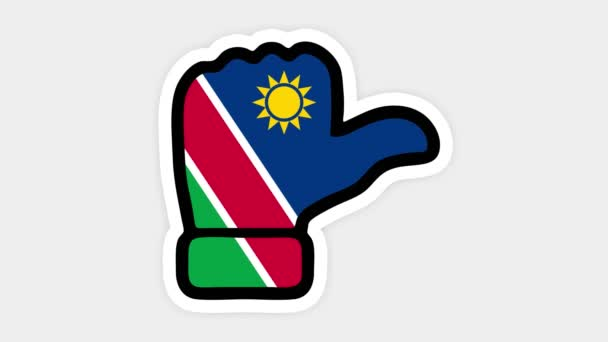 vertical screen, Vertical format. Drawing, animation is in form of like, heart, chat, thumb up with the image of Namibia flag . White background