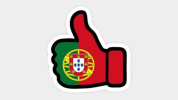 . Kreslení, animace je ve formě, srdce, chat, palec nahoru s obrázkem portugalské vlajky. Bílé pozadí