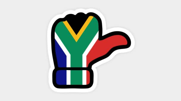 vertical screen, Vertical format. Drawing, animation is in form of like, heart, chat, thumb up with the image of South Africa flag . White background