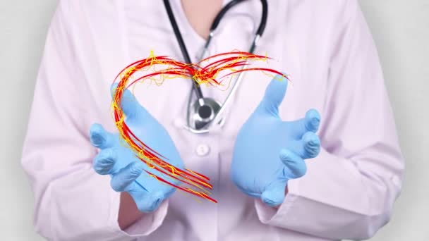 close-up. Doctor in medical white coat, blue gloves holds in hands drawn pulsating heart with Indonesia flag. Concept of doctors struggling against global epidemic, coronavirus.