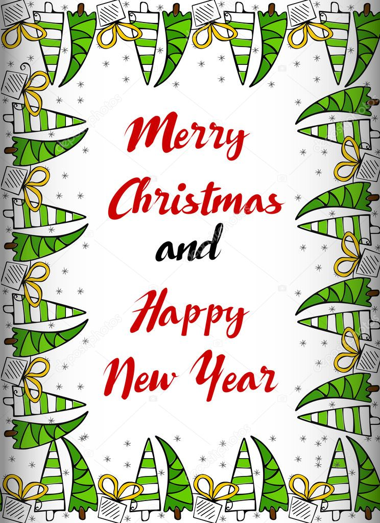 merry christmasand happy new year card printable tembplate with doodle border vector by martist