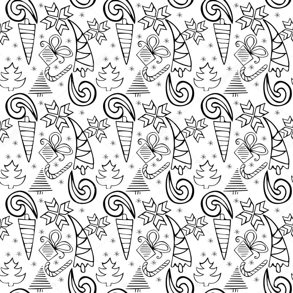 Doodle sin fisuras patrón temático de Navidad. Añadir colores ...