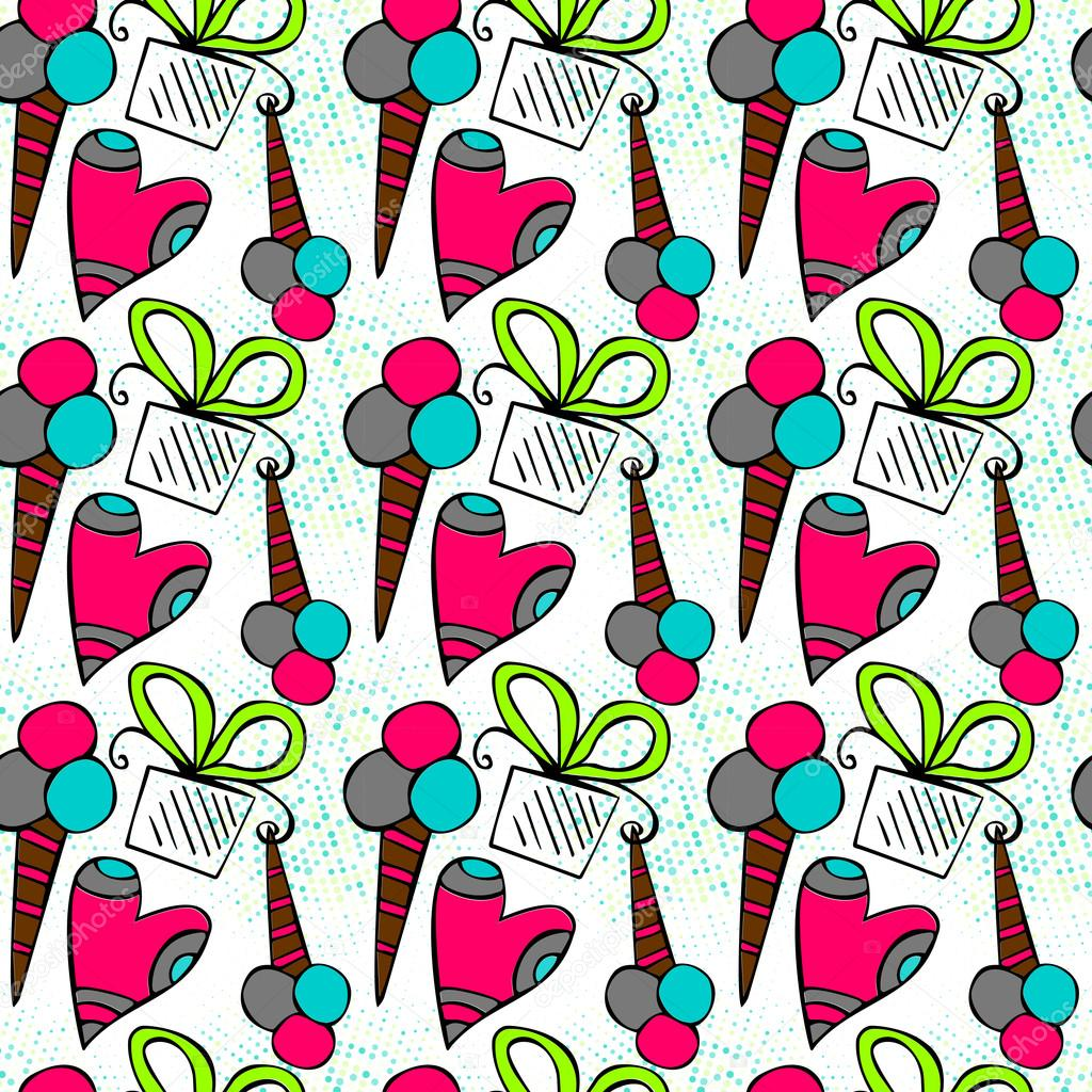 Birthday Themed Doodle Seamless Pattern Gift Wrapping Paper Design Stock Illustration