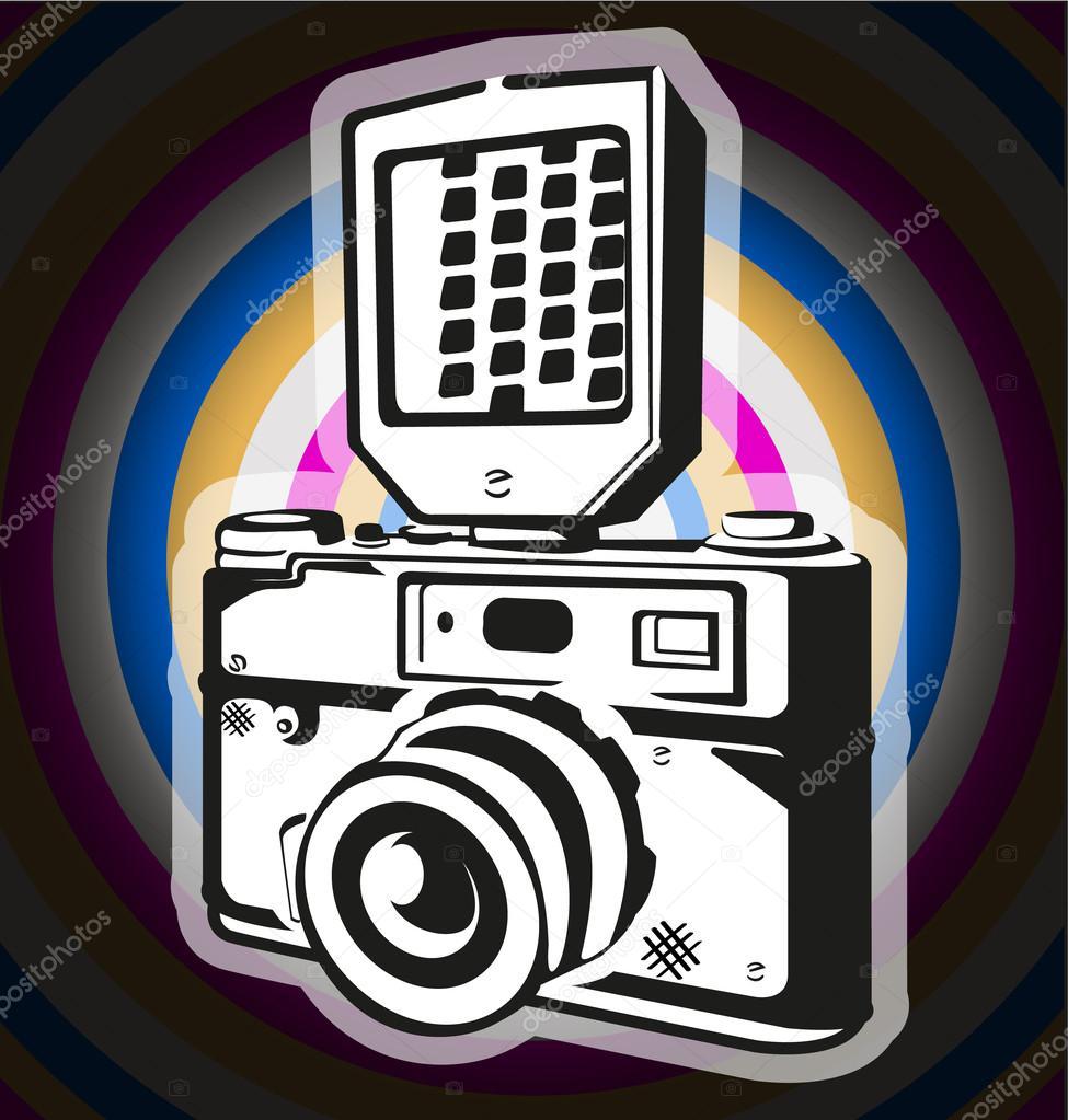 vieja cámara sobre un fondo coloreado — Vector de stock © Evgenchi ...