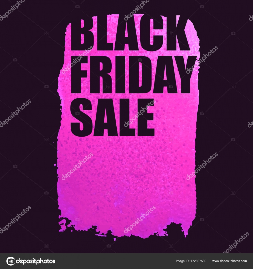 a12f6379257 Black Friday Sale Poster with pink Watercolor Spot.– stock illustration