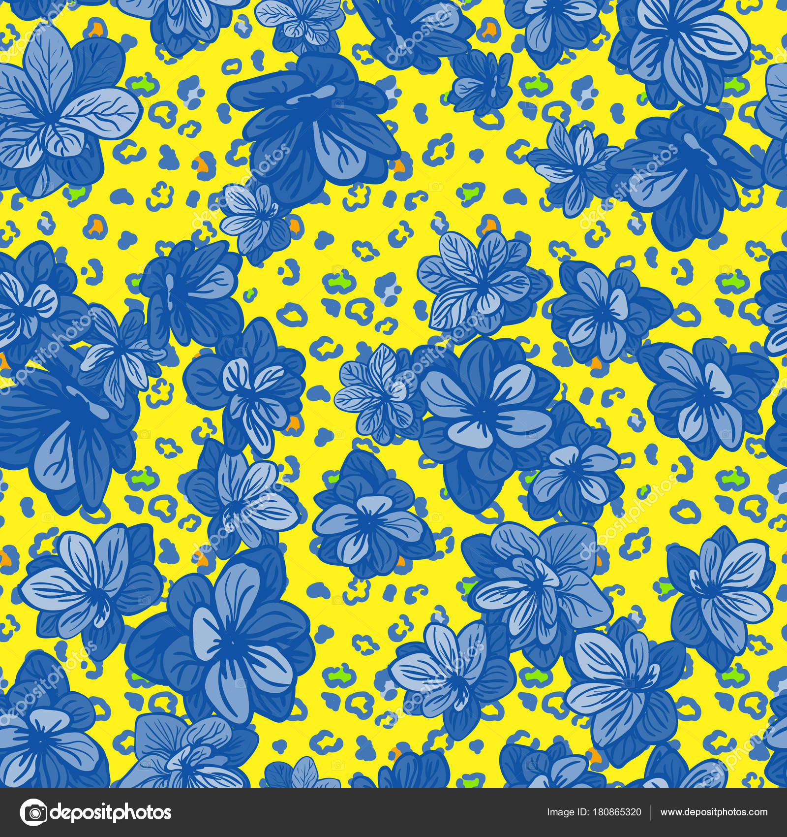 Colorful Seamless Pattern With Leopard Print And Blue