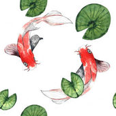 Photo Koi seamless pattern on white background with water lily